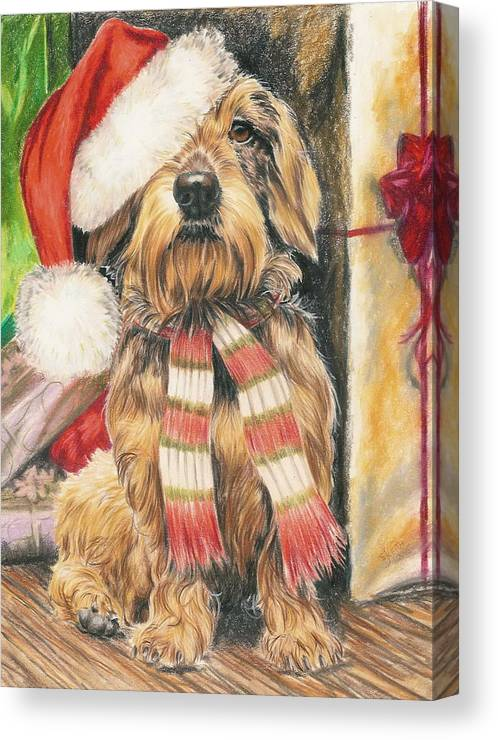 Hound Group Canvas Print featuring the drawing Santas Little Yelper by Barbara Keith