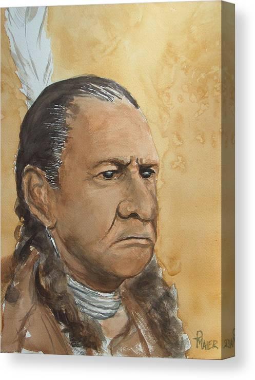 American Indian Canvas Print featuring the painting Sitting Bull by Pete Maier
