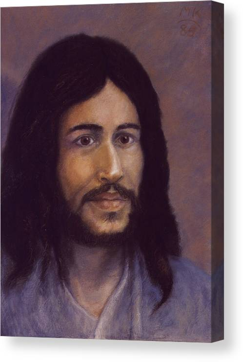 Jesus Canvas Print featuring the painting Smiling Jesus by Miriam A Kilmer