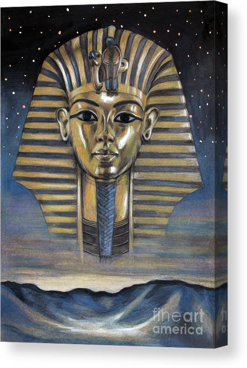 Ancient Egypt Tutankhamun Pharaon King Tut Canvas Print featuring the pastel Spirit Of Egypt by Stoyanka Ivanova