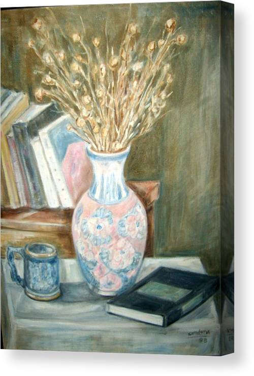Still Life With Books Vase Dry Plants Book Canvas Print featuring the painting Stalks 2 by Joseph Sandora Jr