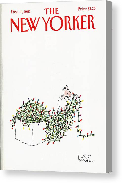 Holiday Canvas Print featuring the painting The New Yorker Cover - December 14th, 1981 by Arnie Levin