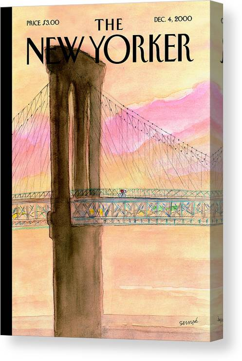 A Canvas Print featuring the photograph The New Yorker Cover - December 4th, 2000 by Jean-Jacques Sempe