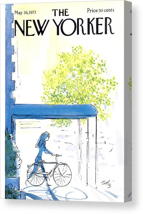 Bicycle Canvas Print featuring the painting The New Yorker Cover - May 26th, 1973 by Arthur Getz