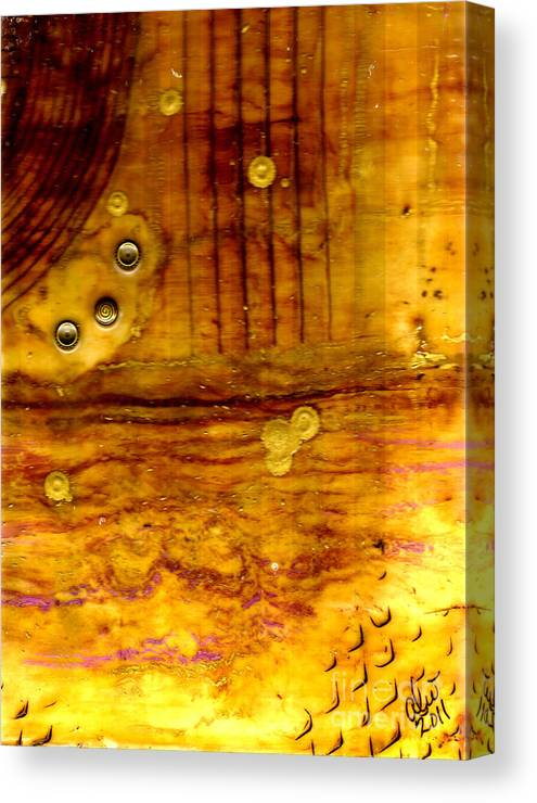 Wood Canvas Print featuring the mixed media Three Brass Rings II by Angela L Walker