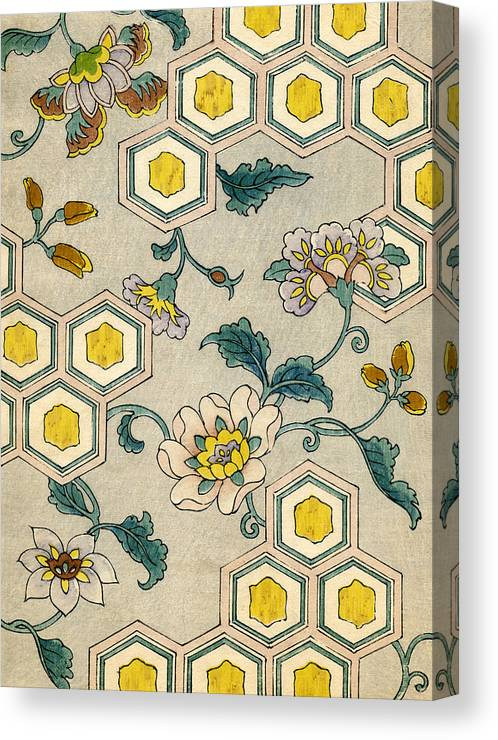 Japanese Canvas Print featuring the painting Vintage Japanese Illustration Of Blossoms On A Honeycomb Background by Japanese School