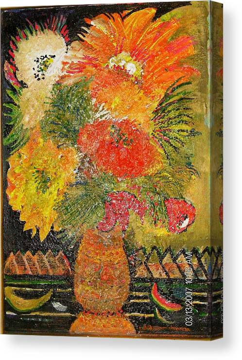 Red Canvas Print featuring the mixed media Wild And Crazy Bloomers by Anne-Elizabeth Whiteway