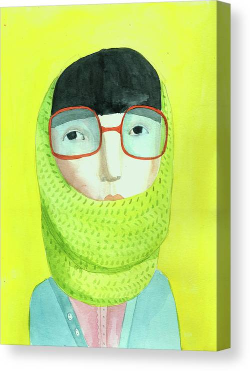 Headwear Canvas Print featuring the digital art Portrait With Glasses by Jenny Meilihove