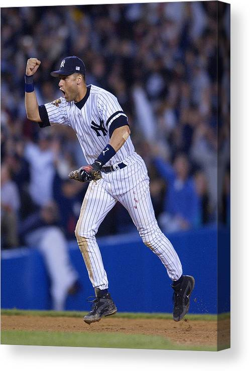 People Canvas Print featuring the photograph As V Yankees X Jeter by Ezra Shaw