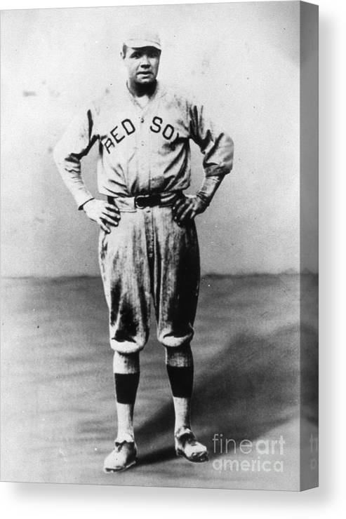 People Canvas Print featuring the photograph Babe Ruth Red Sox Ff Portrait by Transcendental Graphics