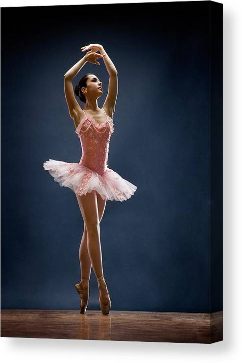 Ballet Dancer Canvas Print featuring the photograph Female Ballet Dancer Dancing by David Sacks