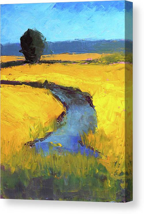 Yellow Landscape Canvas Print featuring the painting Mid July by Nancy Merkle