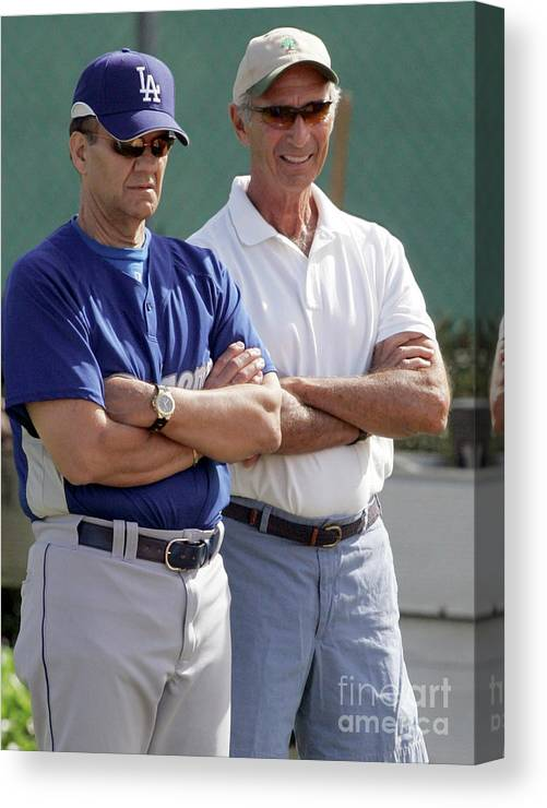 Sandy Koufax Canvas Print featuring the photograph Sandy Koufax And Joe Torre by Icon Sports Wire