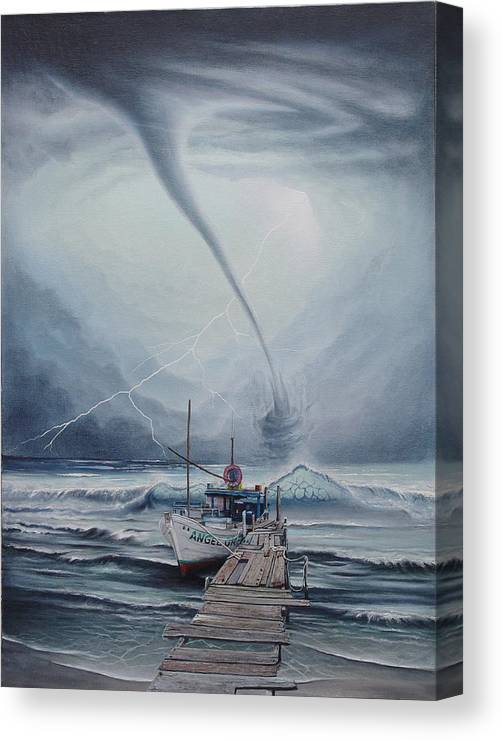 Seascape Canvas Print featuring the painting Tifon   Water Sprout by Angel Ortiz
