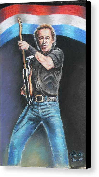 Bruce Springsteen Canvas Print featuring the painting Bruce Springsteen by Melinda Saminski