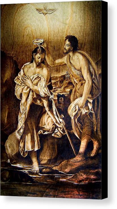 Dino Muradian Canvas Print featuring the pyrography Baptism Of Christ by Dino Muradian
