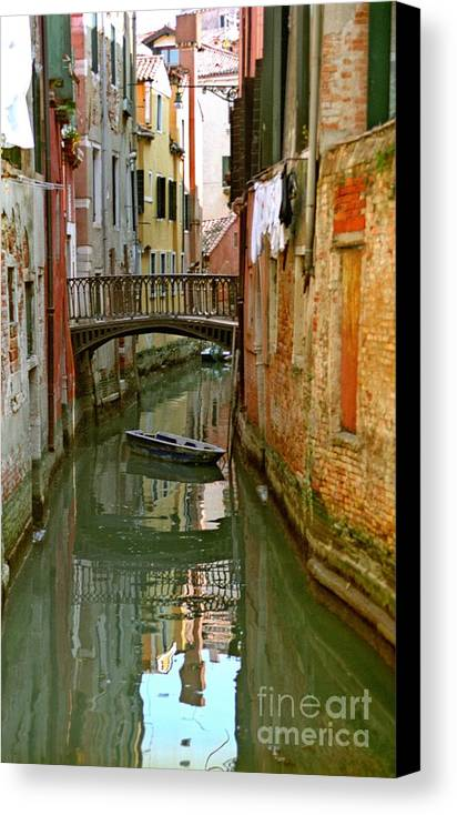 Venice Canvas Print featuring the photograph Little Boat On Canal In Venice by Michael Henderson