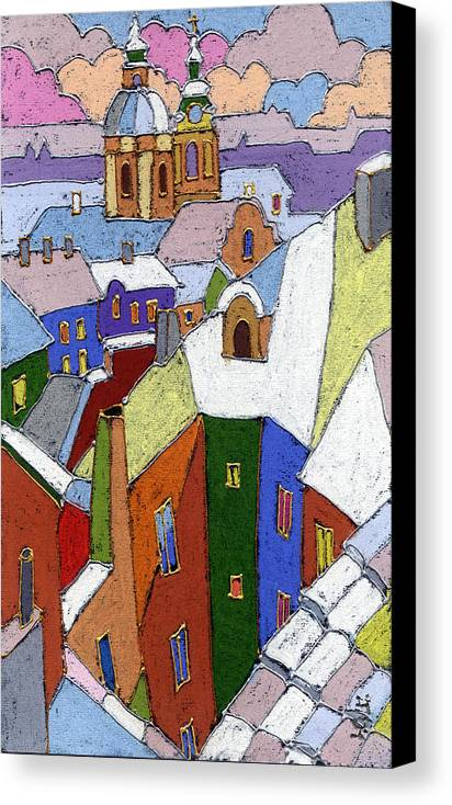 Pastel Canvas Print featuring the painting Prague Old Roofs Winter by Yuriy Shevchuk
