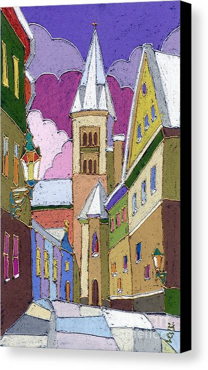 Pastel Canvas Print featuring the painting Prague Old Street Jilska Winter by Yuriy Shevchuk