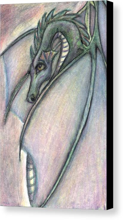 Dragon Canvas Print featuring the drawing Protective Mother by Jennifer Skalecke