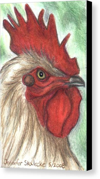 Rooster Canvas Print featuring the drawing Proud by Jennifer Skalecke