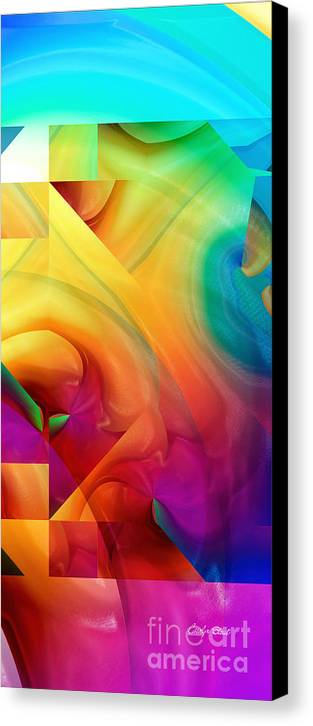 Abstract Realism Blocks Forms Female Abstract Canvas Print featuring the digital art Inside Outside Upside Down by Carolyn Staut