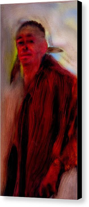 Native Man Spirituality First Nation Native American Canvas Print featuring the painting Jt Tyler by FeatherStone Studio Julie A Miller