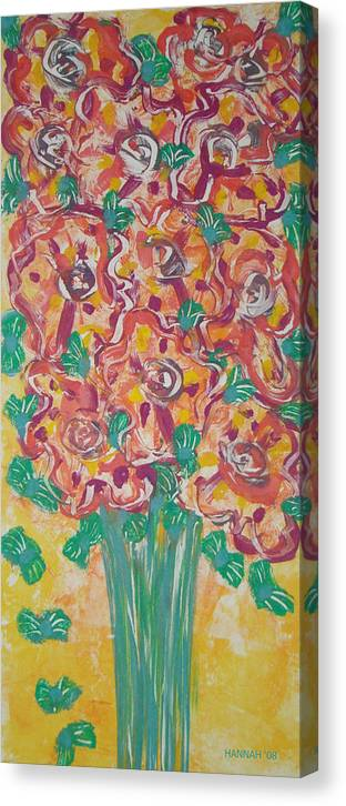 Flower Canvas Print featuring the painting Fleur De Vive by Hannah Lasky