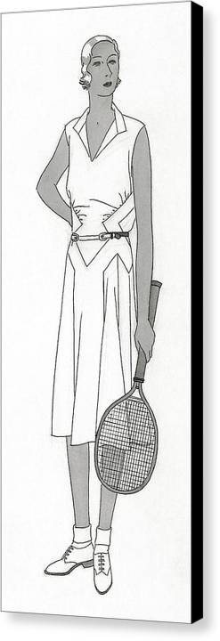 Beauty Canvas Print featuring the digital art Sketch Of Woman In Tennis Dress by Polly Tigue Francis