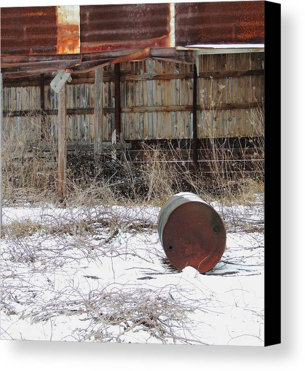 Old Barn And Rusted Barrel Canvas Print featuring the photograph Barn #41 by Todd Sherlock