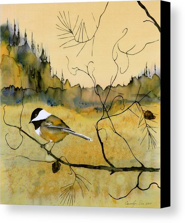 Chickadee Canvas Print featuring the tapestry - textile Chickadee In Dancing Pine by Carolyn Doe