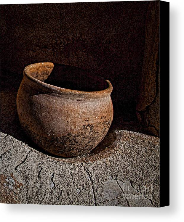 Fine Art Photography Canvas Print featuring the photograph Clay Pot ... by Chuck Caramella