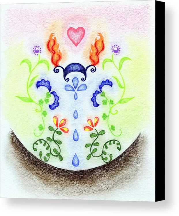 Five Elements Canvas Print featuring the drawing Elements by Keiko Katsuta