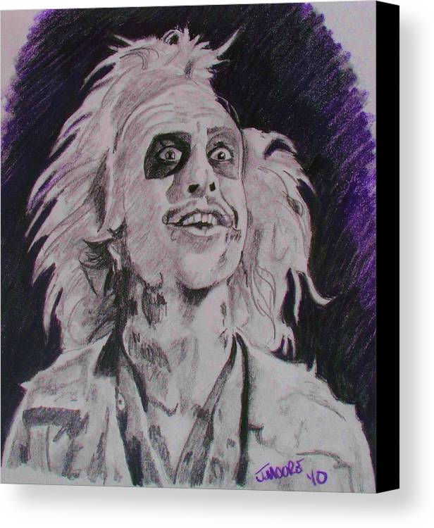Beetle Juice Michael Keaton Tim Burton Ghost Comedy Death Afterlife Movie Canvas Print featuring the drawing The Ghost With The Most by Jeremy Moore