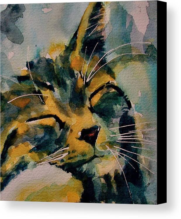 Cat Canvas Print featuring the painting Weeeeeee Sleepee by Paul Lovering