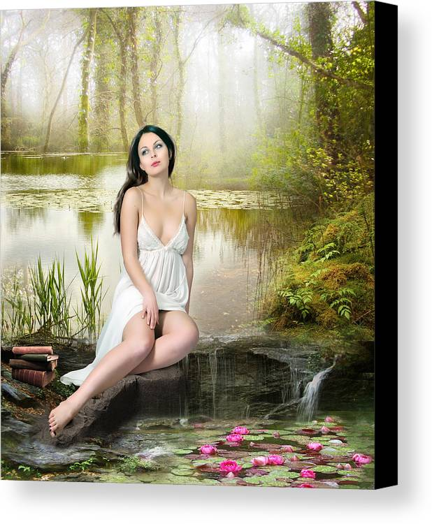 Woman Canvas Print featuring the digital art Where Secrets Are Kept by Mary Hood