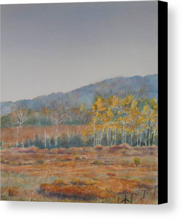 Autumn Canvas Print featuring the painting Autumn Poplars by Debbie Homewood