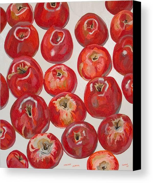 Apple Canvas Print featuring the painting Beautiful Red Apples by Vitali Komarov