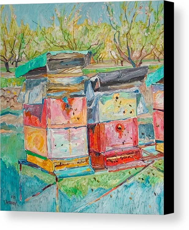 Landscape Canvas Print featuring the painting Beehives In Orchard by Vitali Komarov