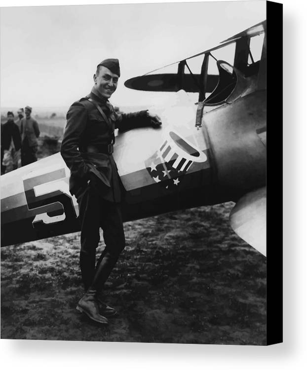 Eddie Rickenbacker Canvas Print featuring the painting Captain Rickenbacker by War Is Hell Store