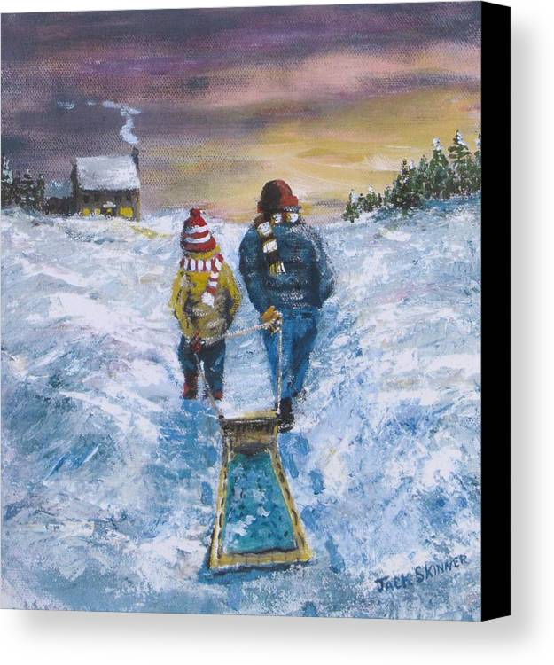 Snow Canvas Print featuring the painting End Of The Day by Jack Skinner