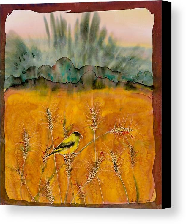 Birds Canvas Print featuring the tapestry - textile Goldfinch In The Wheat by Carolyn Doe