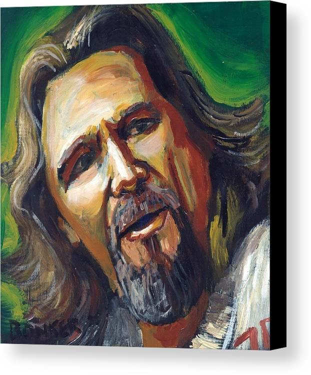 Jeff Bridges Canvas Print featuring the painting Jeffrey Lebowski The Dude by Buffalo Bonker