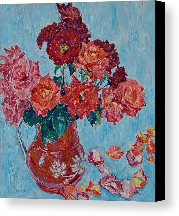 Roses Canvas Print featuring the painting Jjug With Red Roses by Vitali Komarov