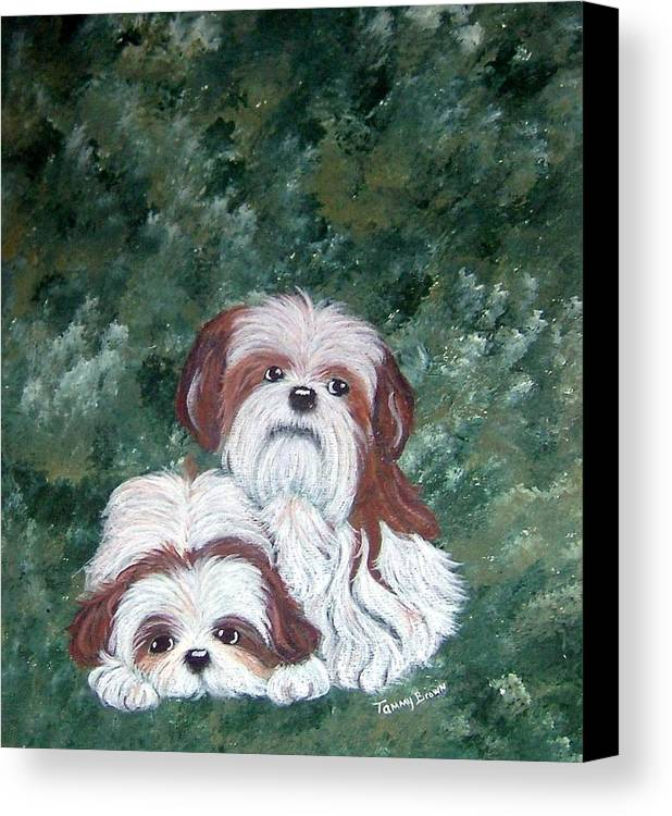 Shih Tzu Canvas Print featuring the painting Loving Shih Tzu by Tammy Brown