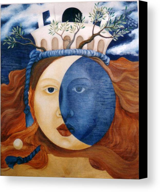 Faces Canvas Print featuring the painting Moon Face by Amrei Al-Tobaishi-Jarosch