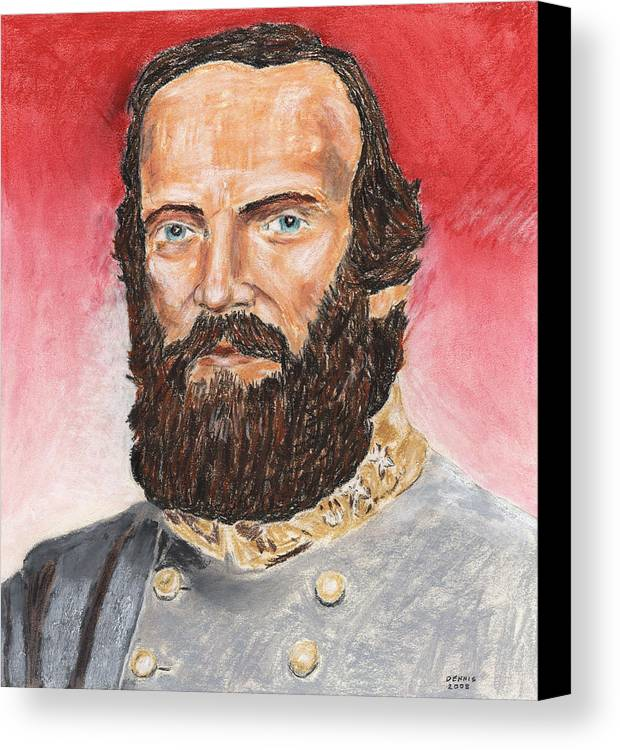 Military Canvas Print featuring the pastel Stonewall Jackson by Dennis Larson