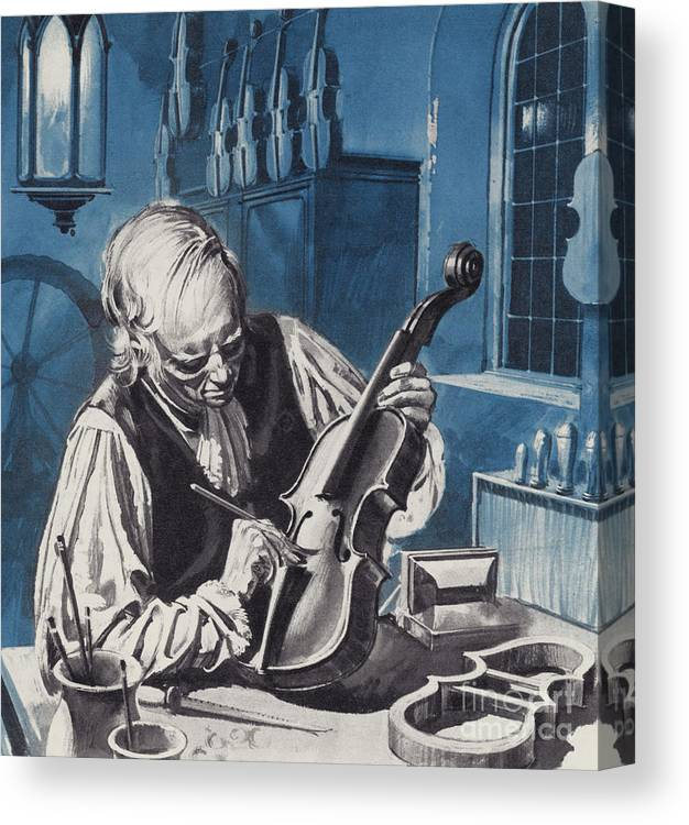 Antonio Stradivari Canvas Print featuring the painting Antonio Stradivari by English School