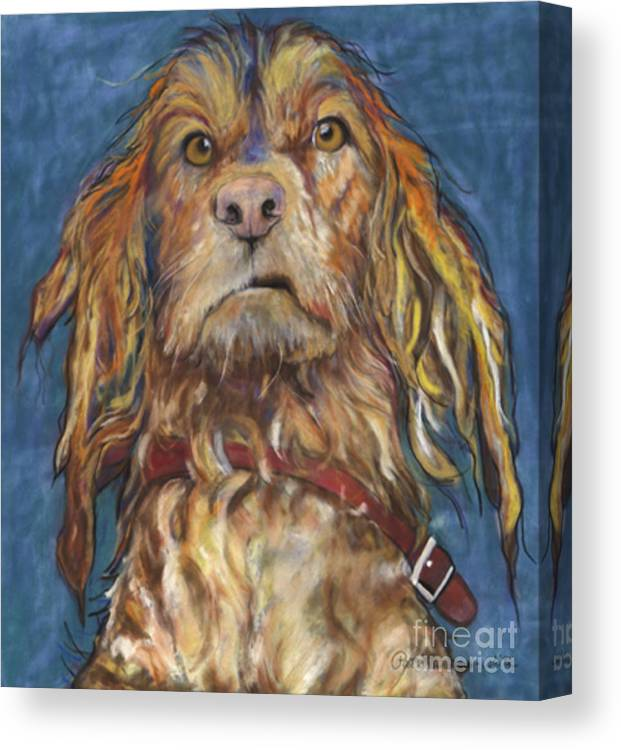 Golden Retriever Painting Canvas Print featuring the pastel Drenched by Pat Saunders-White