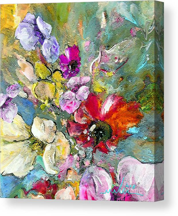 Nature Painting Canvas Print featuring the painting First Flowers by Miki De Goodaboom